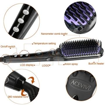 ACEVIVI Ionen Keramik Glättbürste Haarglätter mit Warmluft und LCD EU Stecker Schwarz,A2565 -
