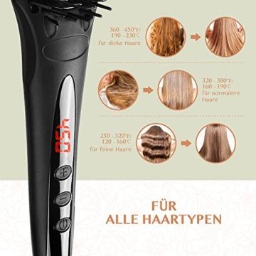 Haarglätter Bürste Glättbürste BearMoo Keramik Haarglätter, Schnellaufheizung mit MCH Technologie, Doppelt Anionengenerator, Antistatischer Metall-Keramik-Heater mit Überhitzungsschutz- Mattschwarz -